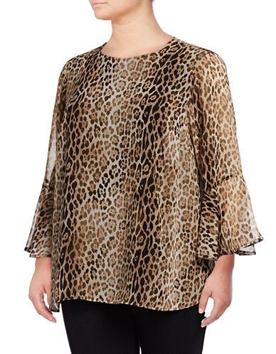 Calvin Klein Plus Plus Leopard Print Flare Sleeve Blouse-GREY-2X