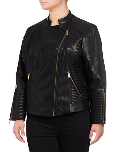 Calvin Klein Plus Plus Moto Jacket-BLACK-1X