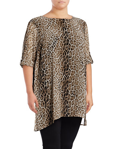 Calvin Klein Plus  Leopard Roll Sleeve Tunic-GREY-1X