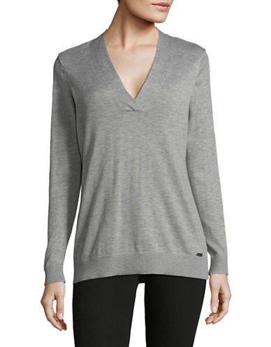 Calvin Klein Cross V-Neck Sweater-GREY-Medium