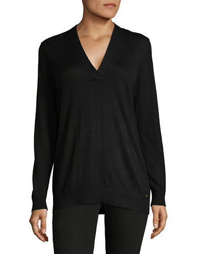 Calvin Klein Cross V-Neck Sweater-BLACK-Small 89493674_BLACK_Small