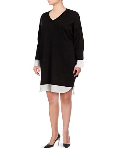 Calvin Klein Plus Plus Shirttail Sweater Dress-BLACK-1X 89667050_BLACK_1X