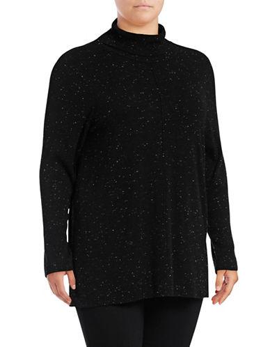 Calvin Klein Plus Flecked Mock Neck Sweater-BLACK-1X