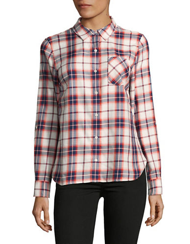 Tommy Hilfiger Plaid Roll Tab Button-Down Shirt-RED-X-Small