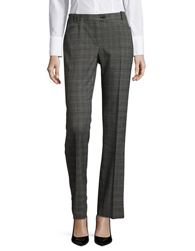 Calvin Klein Plaid Pleat Trousers-BLACK-10