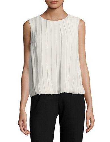Calvin Klein Bubble-Hem Pleated Blouse-GREY-X-Small
