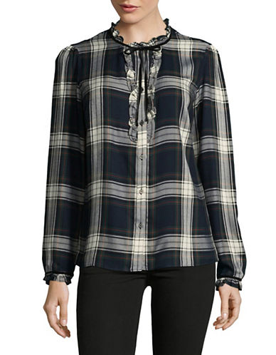 Tommy Hilfiger Ruffle Plaid Tie-Neck Top-GREEN-X-Small