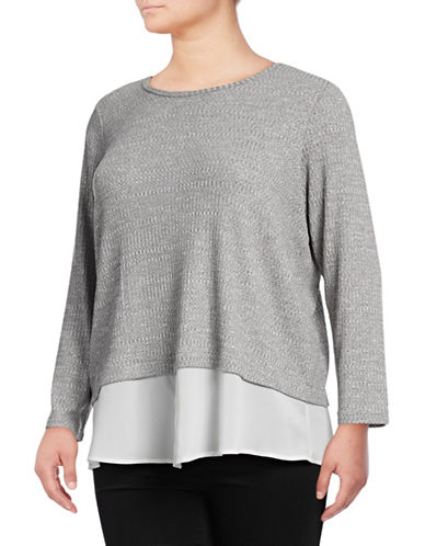 Calvin Klein Plus Plus Ribbed Contrast Top-SILVER-2X