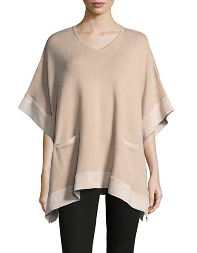 Calvin Klein Faux Suede Sweater Cape-BROWN-Large/X-Large