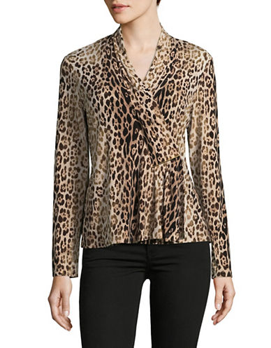 Calvin Klein Animal-Print Bar Wrap Blouse-BEIGE-Large