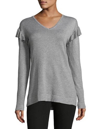 Calvin Klein Ruffled V-Neck Sweater-GREY-Small 89600214_GREY_Small