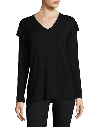 Calvin Klein Ruffled V-Neck Top-BLACK-Medium