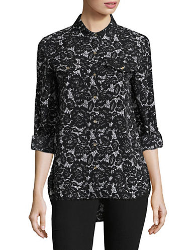 Tommy Hilfiger Floral Lace Print Button-Down Shirt-BLACK-Large