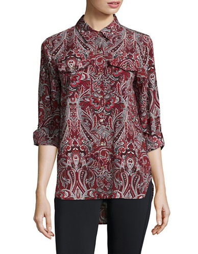Tommy Hilfiger Paisley Button-Down Shirt-RED-Small