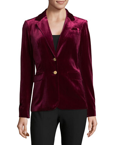 Calvin Klein Notch Lapel Velvet Blazer-RED-8