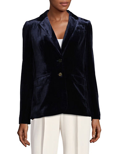 Calvin Klein Notch Lapel Velvet Blazer-BLUE-10