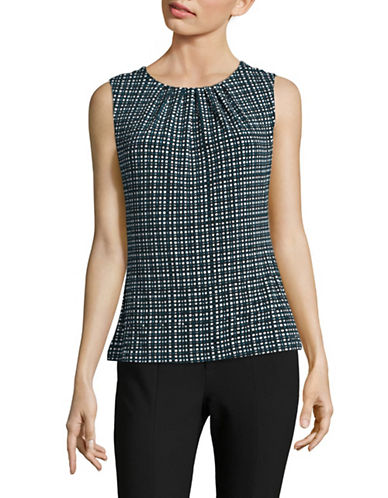 Calvin Klein Printed Pleat Neck Tank Top-MULTI-X-Large