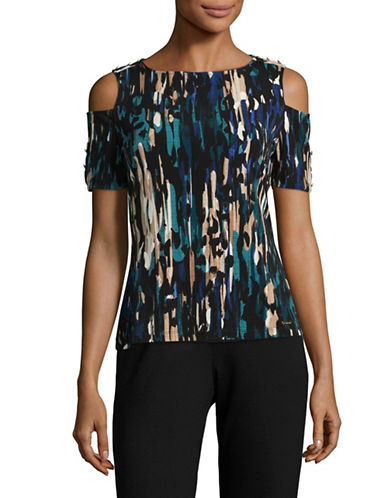 Calvin Klein Cold-Shoulder Tee-MULTI-X-Large