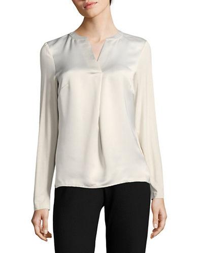 Calvin Klein Long-Sleeve V-Neck Woven Top-OYSTER-Medium