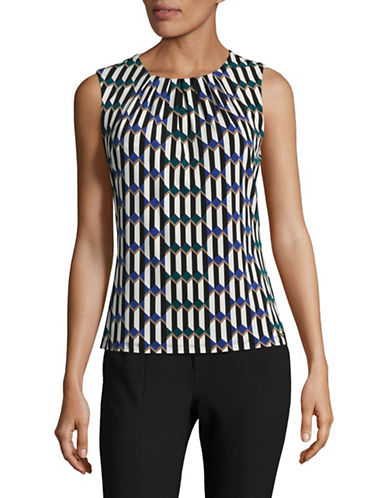Calvin Klein Printed Pleat Neck Tank Top-BLUE-Large
