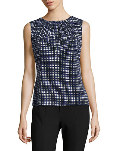 Calvin Klein Printed Pleat Neck Tank Top-BLUE MULTI-X-Large
