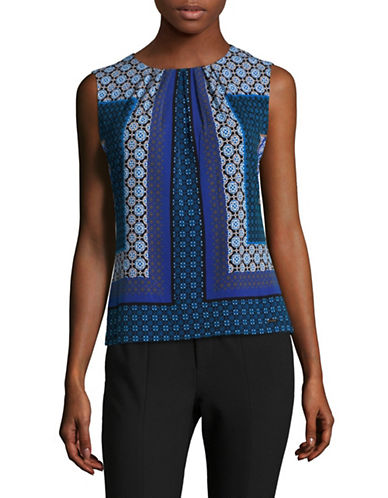Calvin Klein Printed Pleat Neck Tank Top-ASSORTED-X-Small