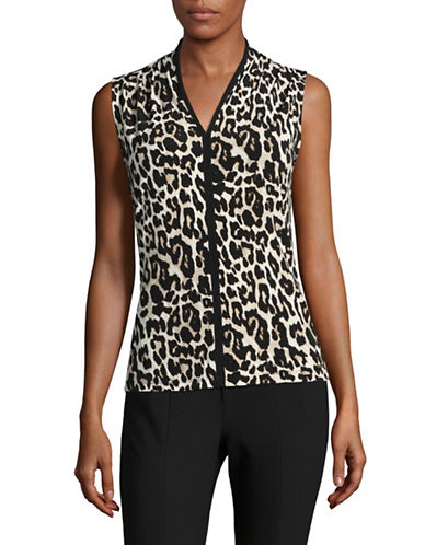Calvin Klein Leopard Sleeveless Top-BLACK MULTI-X-Small