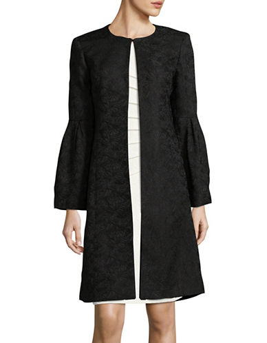 Calvin Klein Jacquard Bell Sleeve Jacket-BLACK-10