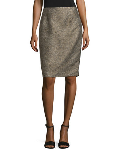 Calvin Klein Metallic Pencil Skirt-BLACK-8