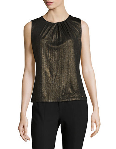 Calvin Klein Pleated Metallic Camisole-BLACK-Medium