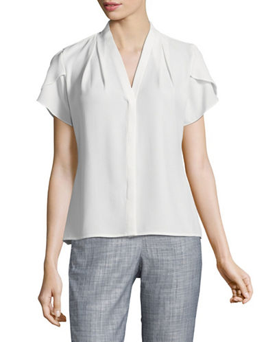 Calvin Klein Short Sleeve Blouse-CREAM-Medium