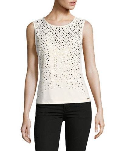 Calvin Klein Matte Jersey Studded Top-CREAM-X-Large