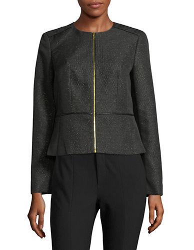Calvin Klein Zip Peplum Jacket-BLACK-12