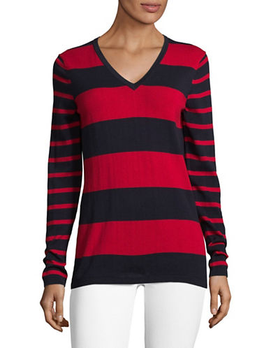 Tommy Hilfiger Two-Tone Striped Sweater-NAVY/RED-Medium
