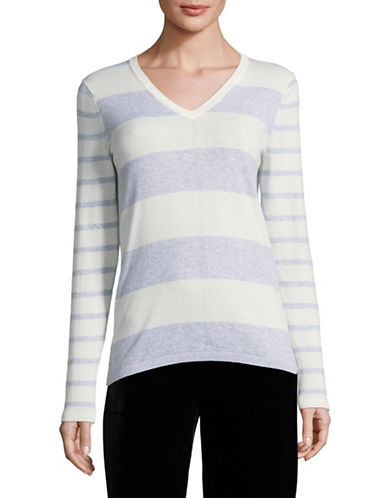 Tommy Hilfiger Two-Tone Striped Sweater-WHITE/PURPLE-Large