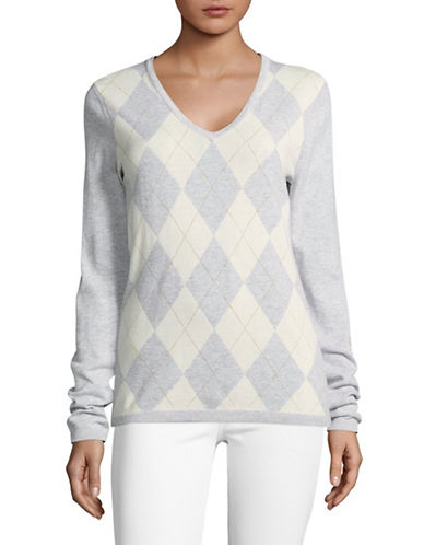 Tommy Hilfiger Lurex Argyle Sweater-GREY-Medium