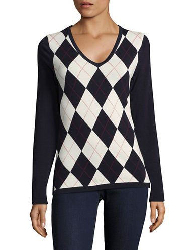 Tommy Hilfiger Lurex Argyle Sweater-BLUE-X-Small