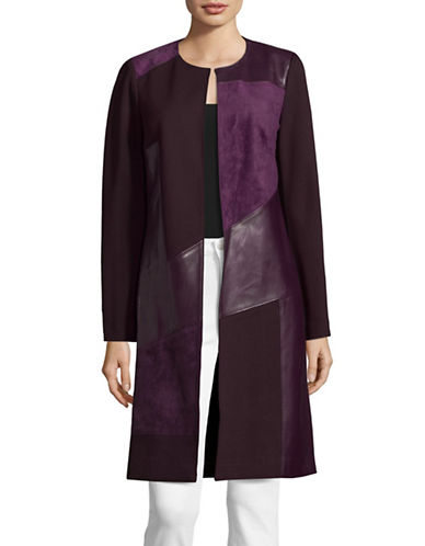 Calvin Klein Faux Suede Leather-Trimmed Cardigan-PURPLE-6