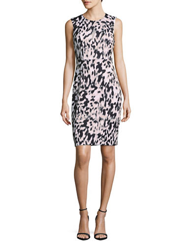 Calvin Klein Printed Sheath Dress-BROWN MULTI-14