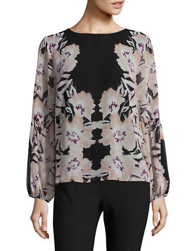 Calvin Klein Bishop Sleeve Floral Tunic-PINK-X-Large