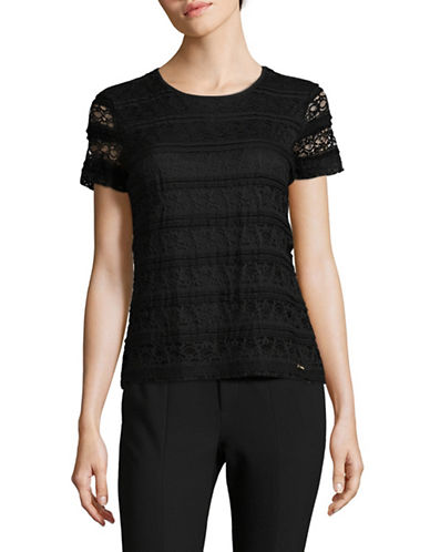 Calvin Klein Short Sleeve Lace Top-BLACK-X-Small 89465350_BLACK_X-Small