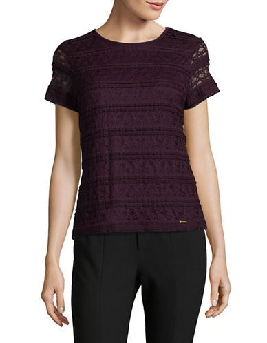 Calvin Klein Short Sleeve Lace Top-PURPLE-X-Small