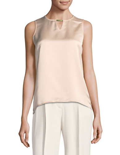 Calvin Klein Hi-Lo Keyhole Blouse-PINK-X-Small