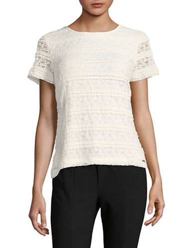 Calvin Klein Short Sleeve Lace Top-WHITE-Small