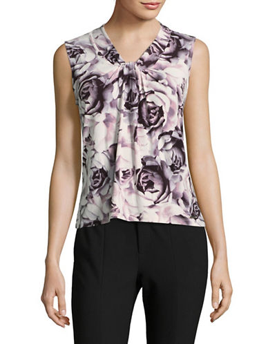 Calvin Klein Sleeveless Knot Neck Blouse-MULTI-Small