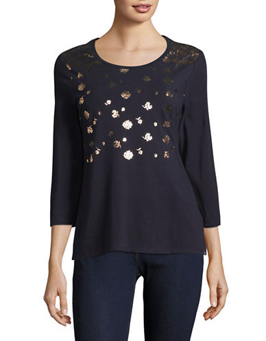 Tommy Hilfiger Three-Quarter Sleeve Graphic Knit Top-BLUE-Small