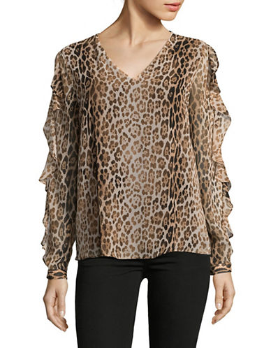 Calvin Klein Printed Ruffle Blouse-BEIGE-Large