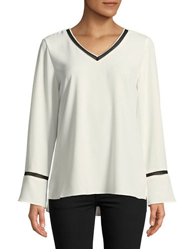 Calvin Klein Mesh Insert Long Sleeve Top-WHITE-X-Small 89600287_WHITE_X-Small