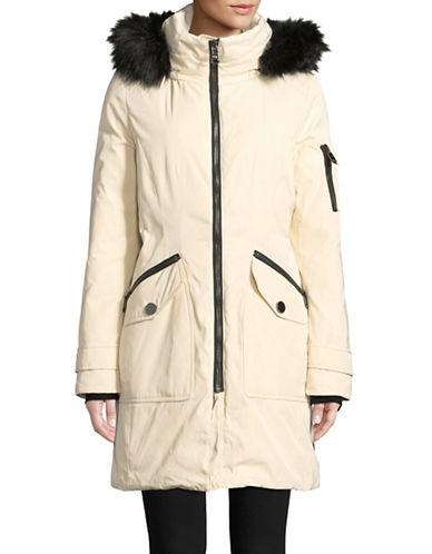 Calvin Klein Faux Fur-Trimmed Parka-WHITE-Large