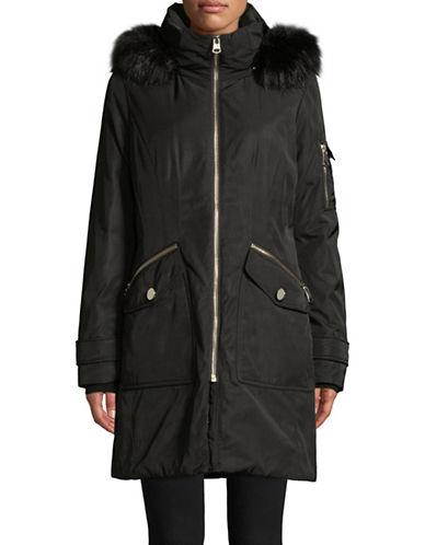 Calvin Klein Faux Fur-Trimmed Parka-BLACK-Small